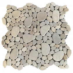 Tan Mini Combination Tumbled Sliced Pebble Squares