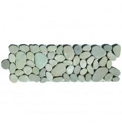 White Mini Combination Honed Sliced Pebble Borders