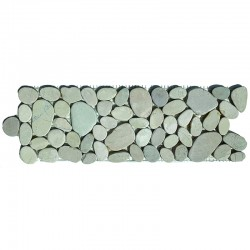 White Mini Combination Tumbled Sliced Pebble Borders