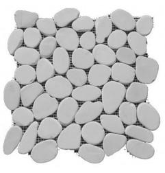 White Tumbled Sliced Pebble Squares