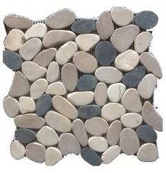 Tan/White/Black Combo Honed Sliced Pebble Squares