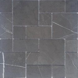 Pietra Grey Mini French Pattern Honed Limestone Mosaic