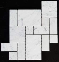 Carrara Mini French Pattern Honed Marble Mosaic