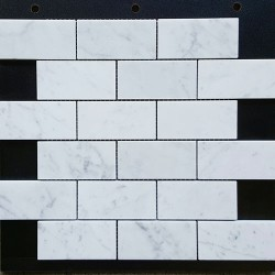 Carrara Honed Mini Subway Marble Mosaic 48x98