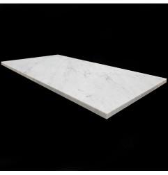 Italian Carrara Honed Rectangle Table Top Pencil Round Marble