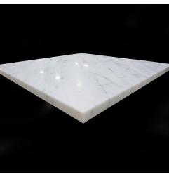 Italian Carrara Honed Square Table Top Pencil Round Marble