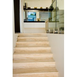 Travertine Chiaro Step Treads & Risers - Cross Cut - Filled & Honed