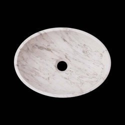 Persian White Honed Oval Basin Marble 2604