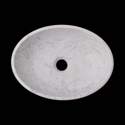 Persian White Honed Oval Basin Marble 2605