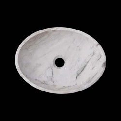 Persian White Honed Oval Basin Marble 2607