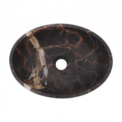 Black & Gold Honed Oval Basin Marble 2636