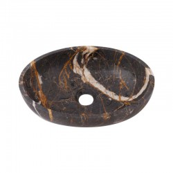 Black & Gold Honed Oval Basin Marble 2638