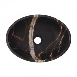 Black & Gold Honed Oval Basin Marble 2639