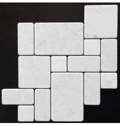 Carrara Mini French Pattern Tumbled Marble Mosaic