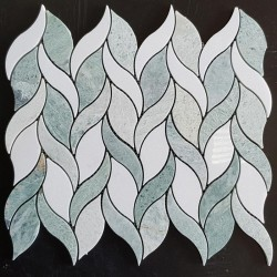 Green Celeste Honed & Thassos Polished Leaf Design Marble Mosaic