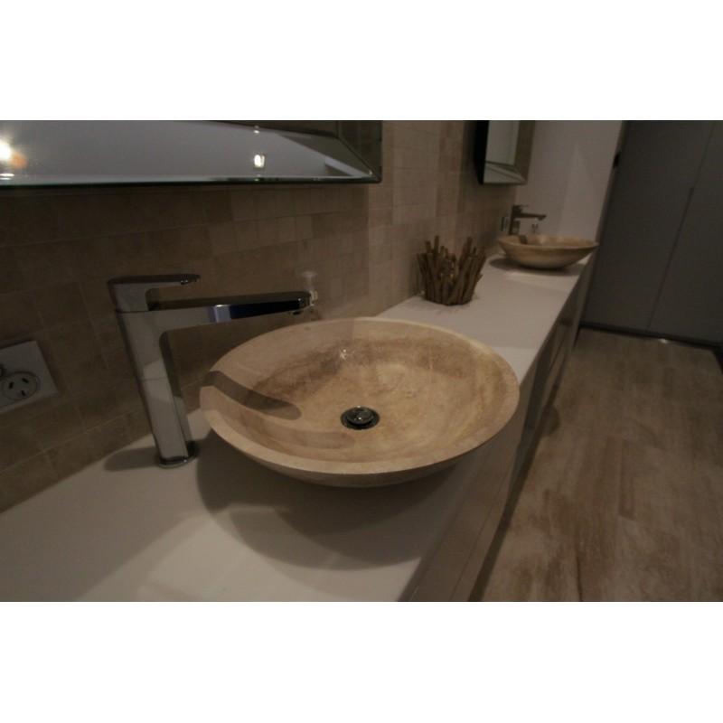 Classico Veincut Honed Round Basin Travertine