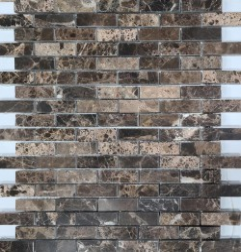 Emperador Dark Polished Brick Pattern Marble Mosaic 48x15
