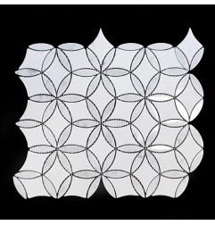 Stella Carrara Honed & Thassos Polished Marble Mosaic