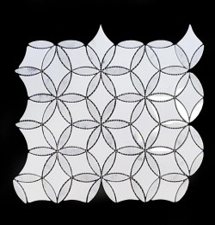 Stella Carrara Polished & Thassos Honed Marble Mosaic