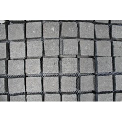 Cobblestone Diamond Black Flamed Granite Sheeted
