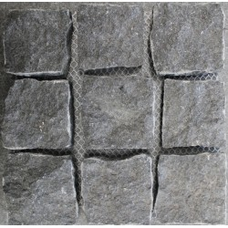 Diamond Black Natural Split Straight Pattern Cobblestone Granite