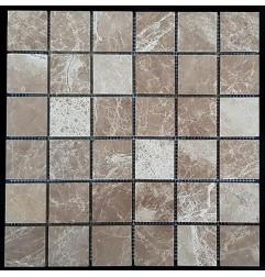 Emperador Light Honed Marble Mosaic 48x48