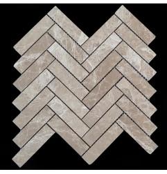 Emperador Light Herringbone Honed Marble Mosaic 98x25
