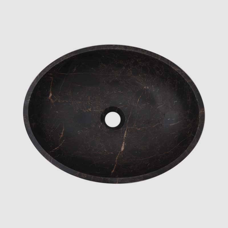 Black & Gold Honed Oval Basin Marble 2888