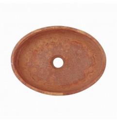 Rosso Honed Oval Basin Travertine 3066
