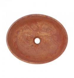 Rosso Honed Oval Basin Travertine 3073