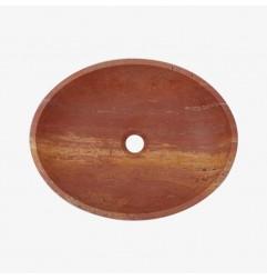 Rosso Honed Oval Basin Travertine 3080