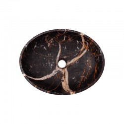 Black & Gold Honed Oval Basin Marble 2685