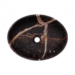 Black & Gold Honed Oval Basin Marble 2686