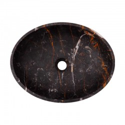 Black & Gold Honed Oval Basin Marble 2687
