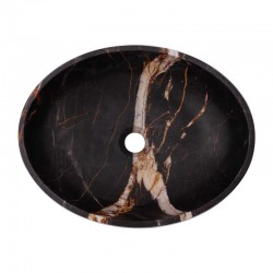 Black & Gold Honed Oval Basin Marble 2688