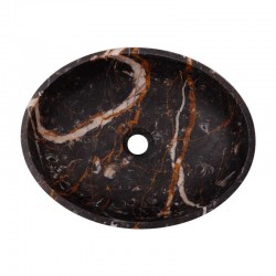Black & Gold Honed Oval Basin Marble 2689