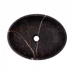 Black & Gold Honed Oval Basin Marble 2691