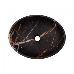 Black & Gold Honed Oval Basin Marble 2692