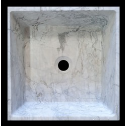 Persian White Honed Tapered Square Basin Marble 1503