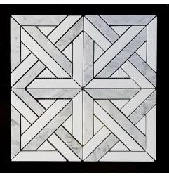 Heritage Parquet Thassos & Carrara Honed Marble Mosaic
