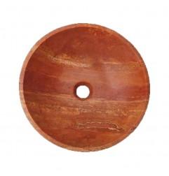 Rosso Honed Round Basin Travertine 2219