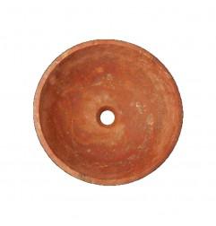 Rosso Honed Round Basin Travertine 2223