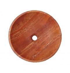 Rosso Honed Round Basin Travertine 2224