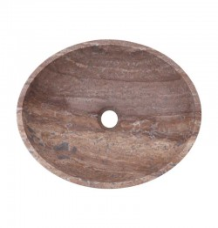 Silver Honed Oval Basin Travertine 3129