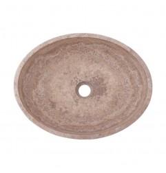 Silver Honed Oval Basin Travertine 3133