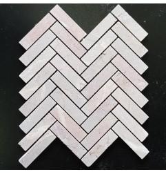 Pastel Pink Herringbone Tumbled Marble Mosaic 98x25
