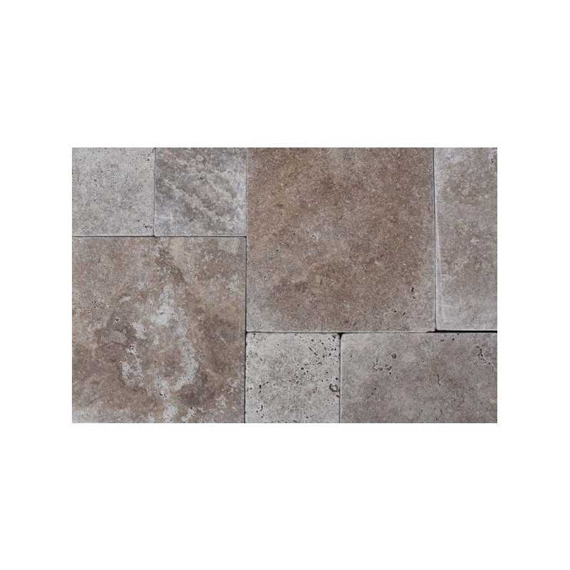 Noce french pattern tumbled tile travertine for Tumbled glass tile