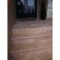 Travertine Noce Step Treads & Risers - Cross Cut - Unfilled & Honed