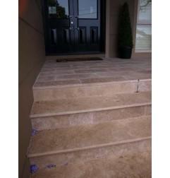 Travertine Noce Step Treads & Risers - Cross Cut - Unfilled & Honed
