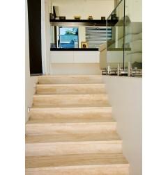 Travertine Chiaro Step Treads & Risers - Cross Cut - Unfilled Honed
